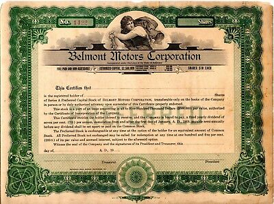 Belmont Motors Corporation  early 1900's unissued Stock Certificate - brittle