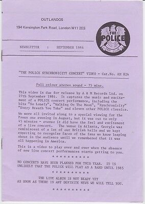 The Police (Sting) - Outlandos Fan Club - Rare collection of 1984 Newsletters +