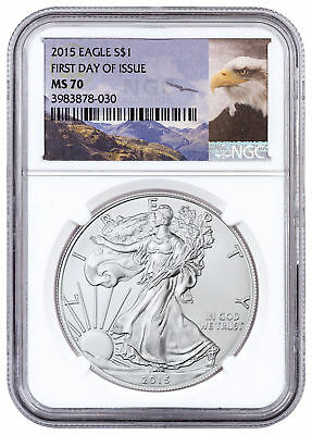 Daily Deal! 2015 American Silver Eagle NGC MS70 FDI Bald Eagle Label SKU54387