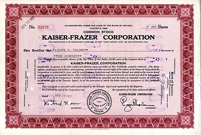 Kaiser Frazer Corporation - 1952 Stock Certificate - Maroon - heavy cancellation