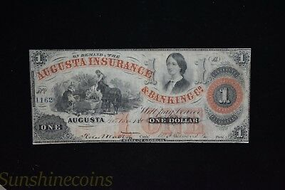1861 Augusta Insurance & Banking Co. $1 One Dollar Note **l@@k!