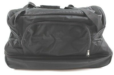 1a279817cf Black Rolling Tote Duffle Bag Carry On Luggage Travel Suitcase + Wheels EUC  3170