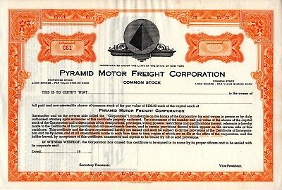 Pyramid Motor Freight Corporation of New York 1900's unissued Stock Certificate