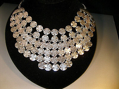"Fabulous Vintage ""statement Chain Bib Style All Metal Necklace"" Antique Silver!"