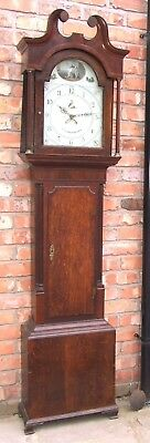 Antique Oak & Mahogany Longcase Grandfather Clock 30 Hour T. MAWKES BELPER