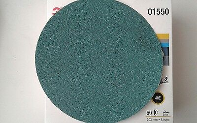 "50 3M Green Corps Stikit 8"" Production Discs 40 Grade GRIT 01550 8 inch MMM BOX"