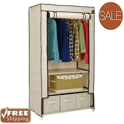 Canvas Wardrobe Storage Shelves Hanging Clothes Rail Cupboard Unit Temporary
