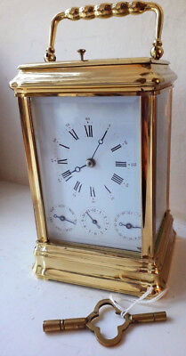 Beautiful Polished L'epee Gorge Complication Carriage Clock with Key