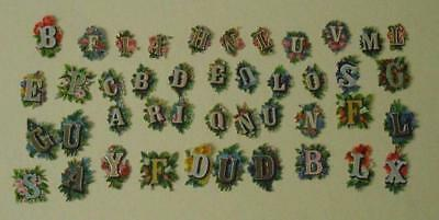 """40+ small (to 1.25"""") Victorian embossed Die Cut Relief Scraps of ABC alphabet."""