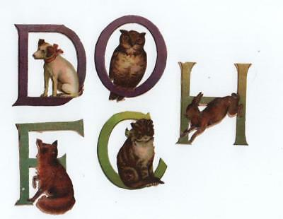 5 Victorian Die Cut Relief Scraps of Animal letters of the Alphabet C D F H O
