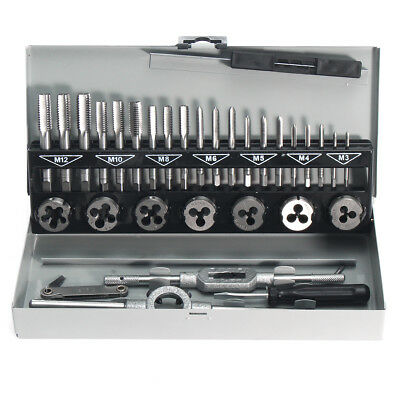 32Pcs Pro Metric Tap Wrench and Die M3-M12 Alloy Steel Remover Hand Tools Set