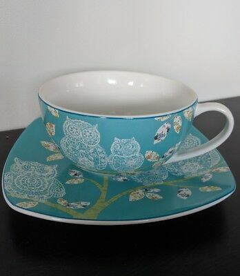 222 Fifth Lacy Owls Turquoise Mug Cup & Saucer Plate