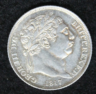 King George III 1817 Silver Sixpence 6d AUNC