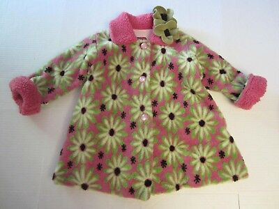 Corky & Company Coat 5 Pink Green Floral Button Front Girl