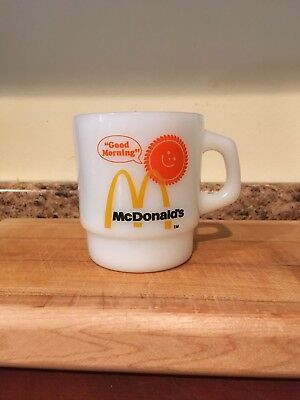 Vintage Mcdonalds Anchor Hocking Good Morning Milk Glass Coffee Mug Cup