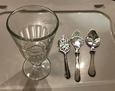 Absinthe Glass and Sugar Cubes Spoons Alcohol Drinking Set Leaf Leaves Barware