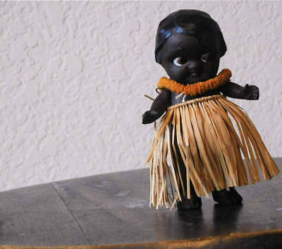 vintage HAWAIIAN hula doll, Redware / Bisque, pre WW II with rare foil decal
