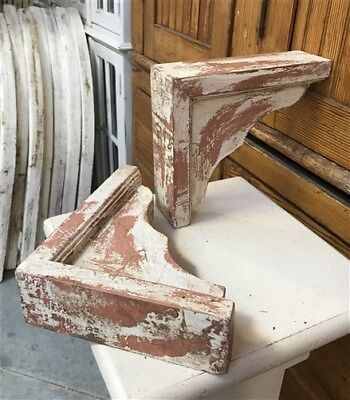 Pair Vintage Style Corbels, Farmhouse Decor, Bookends, Wooden Brackets, Salvage