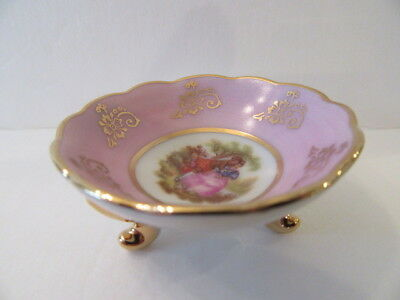 Limoges Miniature Hand Painted Pink 3-Legged Bowl w Pastoral Scene Signed (Mint)