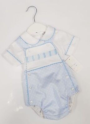 Baby Boys Stunning Blue Spanish Dungarees 2 Piece Set - 6 to 24mths portuguese