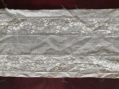 """RARE ANTIQUE FRENCH EMBROIDERED INSERTION TRIM 19th C. 24"""" by 5 1/2"""""""