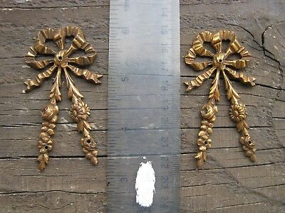 A Pair of French Bronze Ribbons , Bow Decorations , with Garlands