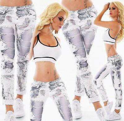 ITALY Damen Jeans Hose Baggy Chino Destroyed Risse Print weiß S M L XL XXL