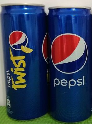 Pepsi Blue and Twist Empty Cans Cambodia Khmer Open from bottom