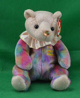 October TY Beanie Baby Happy Birthday Month Birthstone Opal Pot Belly Bear MWMT