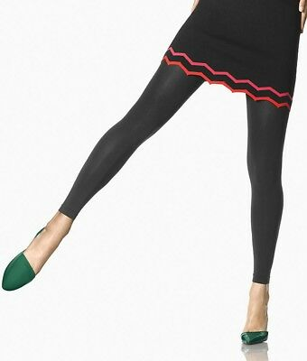 557f54871585c HUE SUPER OPAQUE FOOTLESS Tights with Control Top BLACK Size 3 - NWT ...