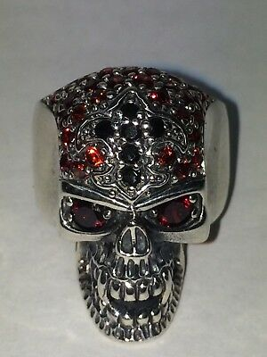 Sterling Silver Heavy Skull Ring Set With Red & Black Cubic Zirconia