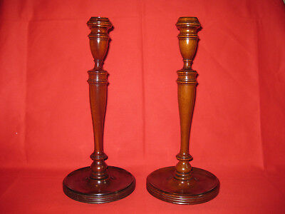 "Pair Antique Mid 19th Century  Mahogany Candlesticks 12"" Tall"