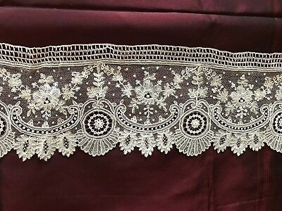 """MASTER PIECE ANTIQUE 1860 C.BRUSSELS FLOUNCE 10 ft ! by 3 1/4"""" PERFECT CONDITION"""