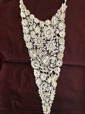 Antique 19th c. BRUSSELS DUCHESSE LACE blouse front piece or collar