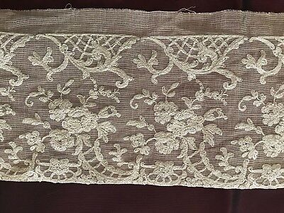 """Gorgeous ANTIQUE FRENCH EMBROIDERED TULLE LACE  88"""" by 5"""""""