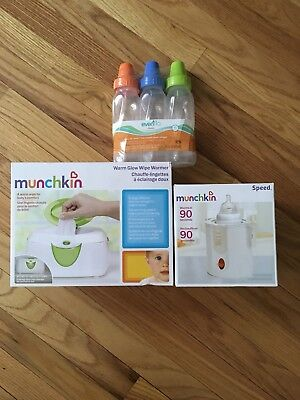 Evenflo Munchkin Baby Shower Gift Lot Bottles Warmer And Wipe Warmer New