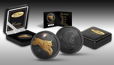 LYNX - GOLDEN ENIGMA - 2017 1 oz Canadian Silver Coin - Ruthenium & Gold Plating