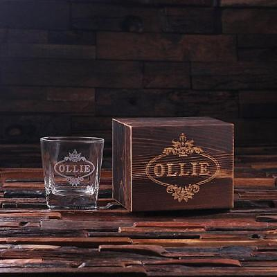 Personalized Whiskey Scotch Glass Set with Wood Box Gift
