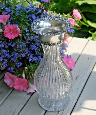 Antique 19c Cut Glass and Fine Sterling Silver Large Repousse Vase 12 5/8""
