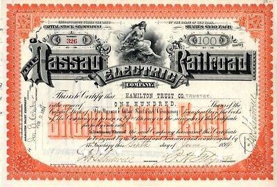 Nassau Electric Railroad Company 1894 Stock Certificate