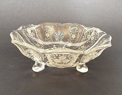 Crystal Footed Bowl With Frosted Etched Designs By Martinsville Viking Glass