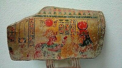 ANCIENT EGYPTIAN POTTERY FRAGMENT Hathor Greeting Pharaoh Seti(1279)BC,Seti Tomb