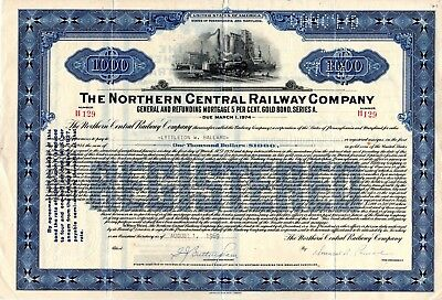Northern Central Railway Company 1969 Mortgage Bond Certificate - blue