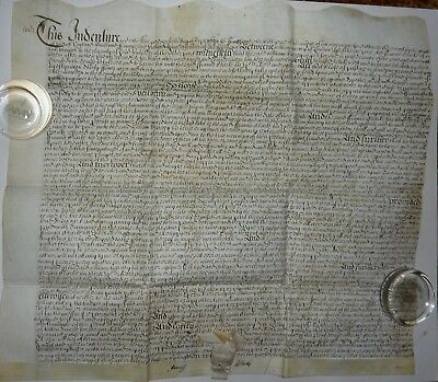 Large Vellum Indenture W Indented Top & Covered Seal – Dated 1682 – In English