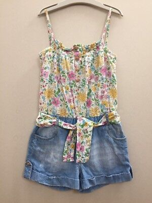 Next Girls Denim And Floral Playsuit Aged 7 Years