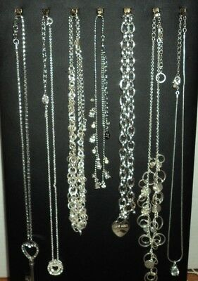 necklaces -  lot of 7 all silver tone chains & pendants some signed wear sell