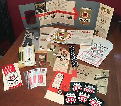 Phillips 66 Vintage 1950s & 60s Thermometer Catalog Brochures Stickers & More!