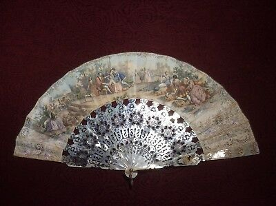 Antique French Hand Fan Carved Mother of Pearl
