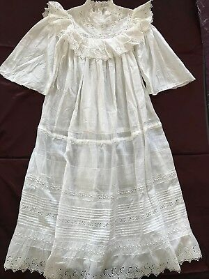 ANTIQUE FRENCH CHRISTENING BABY GOWN with handmade English embroidery on linon