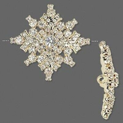 1 Gold Plated & Clear Rhinestone 33mm Snowflake Button *